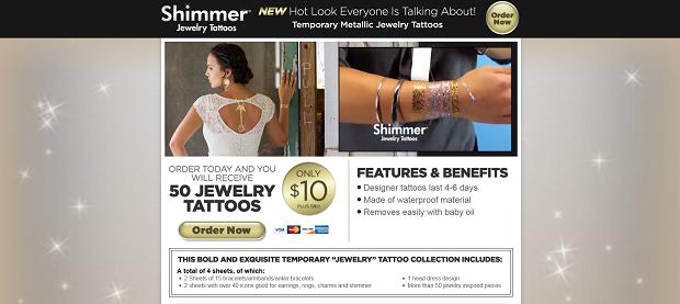Shimmer Jewelry Tattoos website screenshot