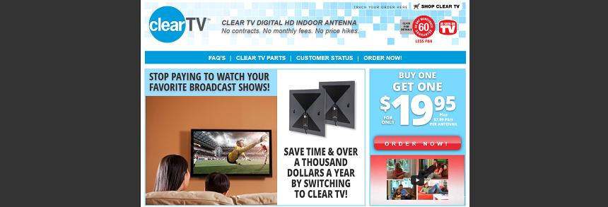 Clear TV Antenna website screenshot