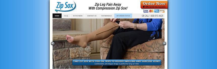 Zip Sox website screenshot